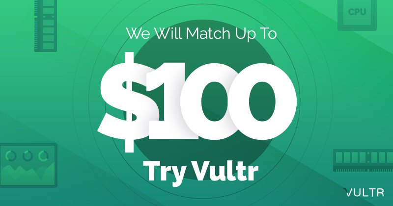 Vultr Coupons August 2019 – Free up to 103$, Off 20% Life Time